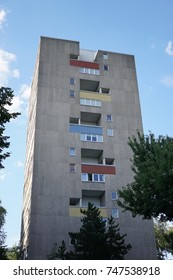 Berlin, Germany - August 7, 2017: skyscraper made by the Dutch architects Jo van den Broek and Jacob Bakema in Hansaviertel in 1957. The Hansaviertel is a district within the Mitte borough of Berlin
