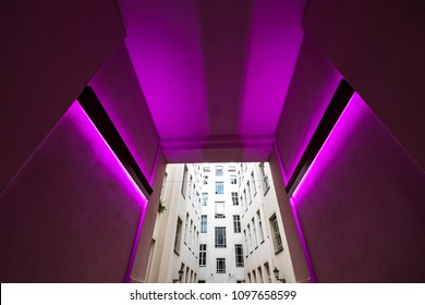 Berlin, Germany - August 8, 2017: Hackesche Höfe in the neighborhood of Spandau in Berlin, is a network of  interior courtyards, Germany