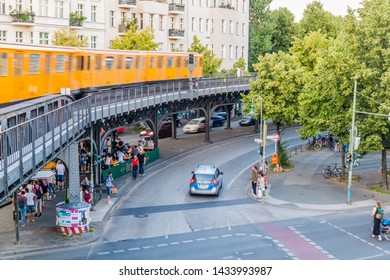 BERLIN, GERMANY - AUGUST 9, 2017: Elevated track off Berlin U-Bahn (metro) near station Schlesisches Tor.