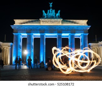 Berlin Germany Brandenburg Gate with fire artists