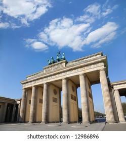 Berlin, Germany. Branderburger Tor with beautiful  blue cloudscape