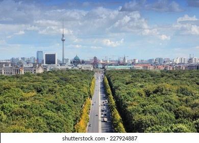 Berlin, Germany. Capital city architecture aerial view with Tiergarten park and the TV tower.
