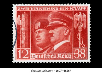 BERLIN, GERMANY, CIRCA 1938 - Post stamp in memory of union between Hitler and Mussolini circa 1938 in Berlin, Germany