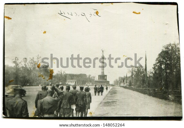 BERLIN, GERMANY - CIRCA 1940s: Vintage photo shows group of Soviet soldiers, Berlin, Germany, end of 1940s