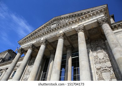 BERLIN, GERMANY, CIRCA 2013 - The entrance portal to the Reichstag at the summer day circa 2013 in Berlin, Germany