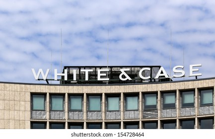BERLIN, GERMANY, CIRCA 2013 - The law firm White & Case logotype on the building circa 2013 in Berlin, Germany