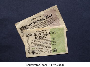 BERLIN, GERMANY - CIRCA FEBRUARY 2019: Eine und Zwei Million Mark (meaning One and Two Million Mark) year 1923 banknotes inflation money from Weimar Republic