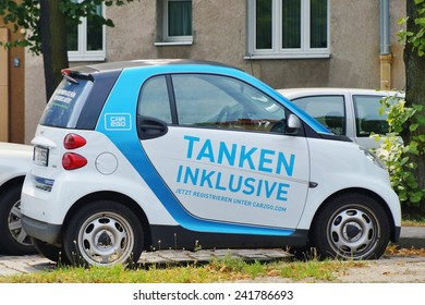 BERLIN, GERMANY -CIRCA JULY 2014-- Car2Go, a subsidiary of Daimler, provides carsharing services in European and North American cities. It rents exclusively Smart ForTwo cars.