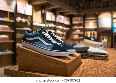 BERLIN, GERMANY - CIRCA JULY, 2017: Vans shoes inside store. Vans is an American clothing manufacturer. The brand is available in more than 170 countries worldwide.