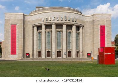 BERLIN, GERMANY - CIRCA JULY, 2018:  The facade of the Volksbuehne (People's Theatre) at Rosa Luxemburg Platz in Berlin Mitte.