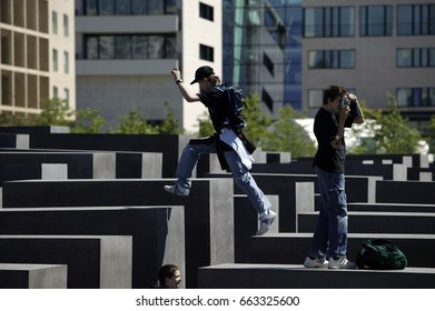 Berlin, Germany. CIRCA June 2005: Visitors at the Holocaust Memorial is a memorial in Berlin to the Jewish victims of the Holocaust  in Berlin