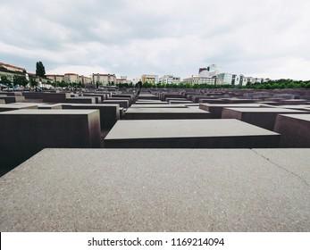 BERLIN, GERMANY - CIRCA JUNE 2016: Denkmal fuer die ermordeten Juden Europas meaning Holocaust Memorial to the Murdered Jews of Europe