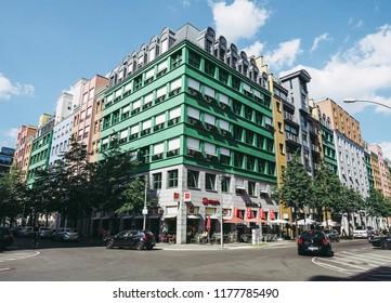 BERLIN, GERMANY - CIRCA JUNE 2016: Quartier Schuetzenstrasse residential building designed by Italian architect Aldo Rossi
