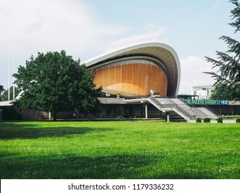 BERLIN, GERMANY - CIRCA JUNE 2016: Haus der Kulturen der Welt meaning House of the Cultures of the World in Tiergarten park designed in 1957 by Hugh Stubbins for the Interbau exhibition