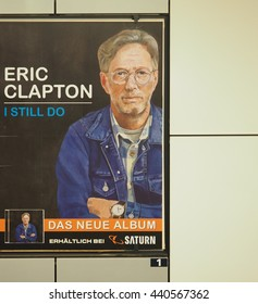 BERLIN, GERMANY - CIRCA JUNE 2016: Advertisement in Berlin subway for Eric Clapton new album called I still do