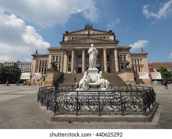 BERLIN, GERMANY - CIRCA JUNE 2016: Friedrich Schiller monument in front of Konzerthaus Berlin concert hall on the Gendarmenmarkt square in central Mitte district