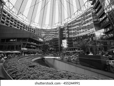 BERLIN, GERMANY - CIRCA JUNE 2016: Sony Center in Potsdamer Platz designed by Helmut Jahn in black and white