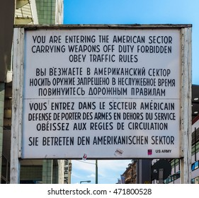 BERLIN, GERMANY - CIRCA JUNE 2016: Checkpoint Charlie (aka Checkpoint C) wall crossing point between East Berlin and West Berlin during the Cold War (HDR)