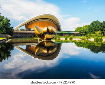 BERLIN, GERMANY - CIRCA JUNE 2016: Haus der Kulturen der Welt meaning House of the Cultures of the World in Tiergarten park designed in 1957 by Hugh Stubbins for the Interbau exhibition (HDR)