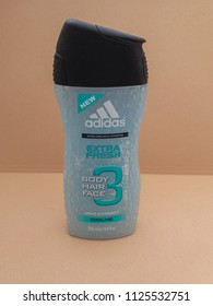 BERLIN, GERMANY - CIRCA JUNE 2018: Adidas Body Hair Face 3 shower gel and shampoo