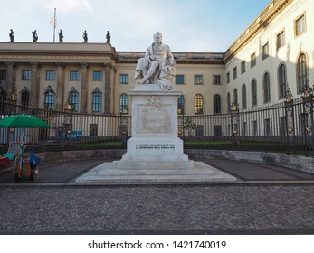 BERLIN, GERMANY - CIRCA JUNE 2019: Statue of Alexander von Humboldt dedicated by the Habana University as the second discoverer of Cuba (after Columbus)