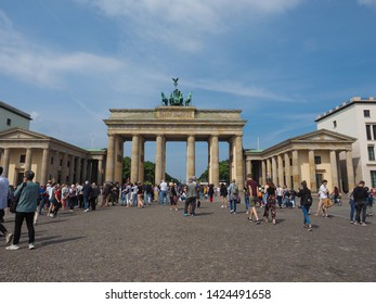 BERLIN, GERMANY - CIRCA JUNE 2019: People at Brandenburger Tor (Brandenburg Gate)