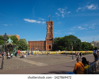 BERLIN, GERMANY - CIRCA JUNE 2019: Rotes Rathaus (meaning Red Town Hall)