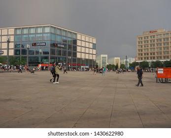 BERLIN, GERMANY - CIRCA JUNE 2019: People in Alexanderplatz square