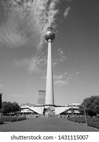 BERLIN, GERMANY - CIRCA JUNE 2019: Fernsehturm (meaning Television tower) in Alexanderplatz in black and white