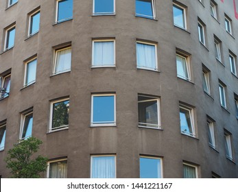 BERLIN, GERMANY - CIRCA JUNE 2019: Bonjour Tristesse (meaning Hello Sadness) house by architect Alvaro Siza. Bitte lebn means Please live