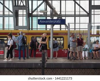 BERLIN, GERMANY - CIRCA JUNE 2019: People in Alexanderplatz station