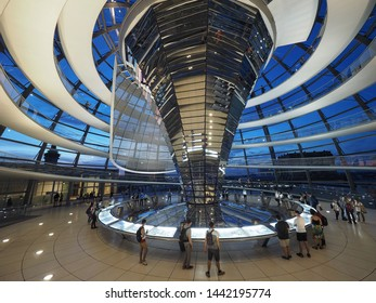 BERLIN, GERMANY - CIRCA JUNE 2019: Dome of the Bundestag German Houses of Parliament at dusk