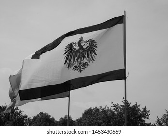 BERLIN, GERMANY - CIRCA JUNE 2019: German coat of arms with the Eagle in black and white