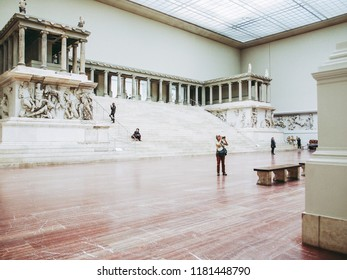 BERLIN, GERMANY - CIRCA MAY, 2014: Tourists visiting the Pergamon Museum of antiquities