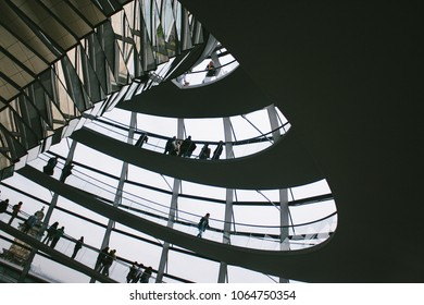 BERLIN, GERMANY - CIRCA SEPTEMBER 2009: Inside the glass dome, designed by architect Norman Foster, on top of the Reichstag building in Berlin