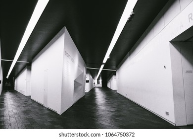 """BERLIN, GERMANY - CIRCA SEPTEMBER 2009: The intersecting, slanting corridors (or """"axes"""") inside the Jewish Museum , designed by architect Daniel Libeskind, in Berlin, Germany."""