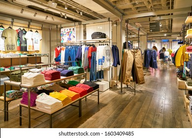 BERLIN, GERMANY - CIRCA SEPTEMBER, 2019: interior shot of United Colors of Benetton store in Berlin.