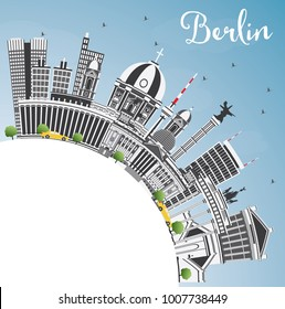 Berlin Germany City Skyline with Gray Buildings, Blue Sky and Copy Space. Business Travel and Tourism Concept with Historic Architecture. Berlin Cityscape with Landmarks.