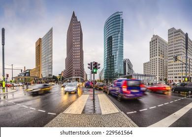 Berlin, Germany city skyline at the Potsdamer platz financial district.