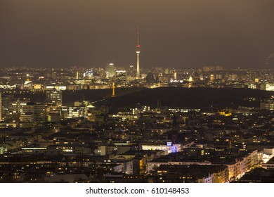 berlin germany cityscape from above at night