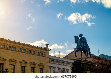 Berlin, Germany - December 02, 2016:Monument, sowed to the famous German King Frederick II. The king himself on the horse .