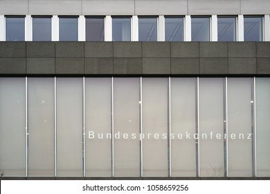 BERLIN, GERMANY - DECEMBER 06: The modern facade of the building of the federal press conference of a same-named association for political reporting on December 06, 2017 in Berlin.
