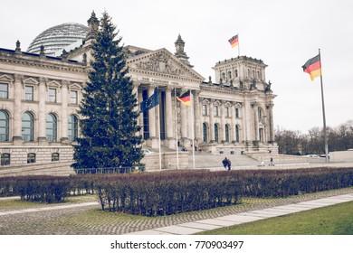 BERLIN, GERMANY - DECEMBER 06,2017: Reichstag building, seat of the German Parliament (Deutscher Bundestag), in Berlin, Germany