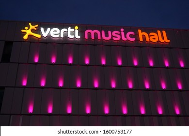 Berlin, Germany - December 08 2019: The Verti Music Hall in Berlin Friedrichshain at night. It is a multipurpose concert hall in the centre of Berlin.