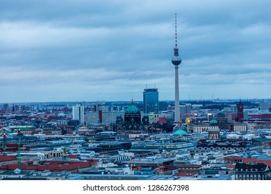 BERLIN, GERMANY - DECEMBER 09, 2018: Views of the city of Berlin from one of the skyscrapers of the Potsdamer Platz, DEC 09, 2018 in Berlin