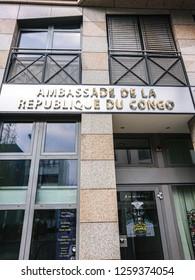 Berlin, Germany - December 1, 2018: Building exterior of the Embassy of the Republic of the Congo, Ambassade de la République Démocratique du Congo
