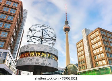 Berlin, Germany - December 10, 2017: Urania World Clock with Television tower on Alexanderplatz in Berlin, Germany