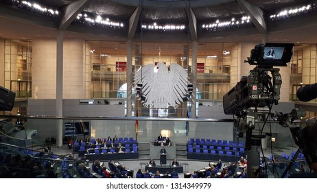 BERLIN, GERMANY - December 10,2018: a view of the plenary hall at the Bundestag lower house of parliament in Berlin