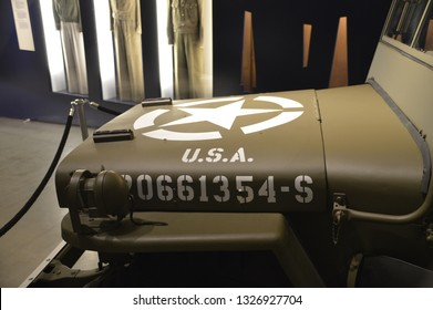 BERLIN, GERMANY - December 10,2018: a World War Two US Army Willys MB jeep is shown