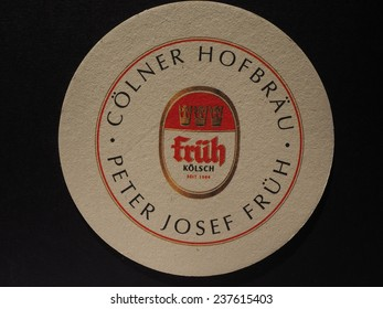 BERLIN, GERMANY - DECEMBER 11, 2014: Beermat of German beer Frueh
